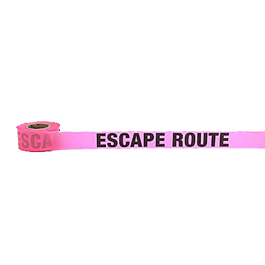 "Escape Route Glo Pink Flag Tape (1-1/2"" w x 50 yds)"